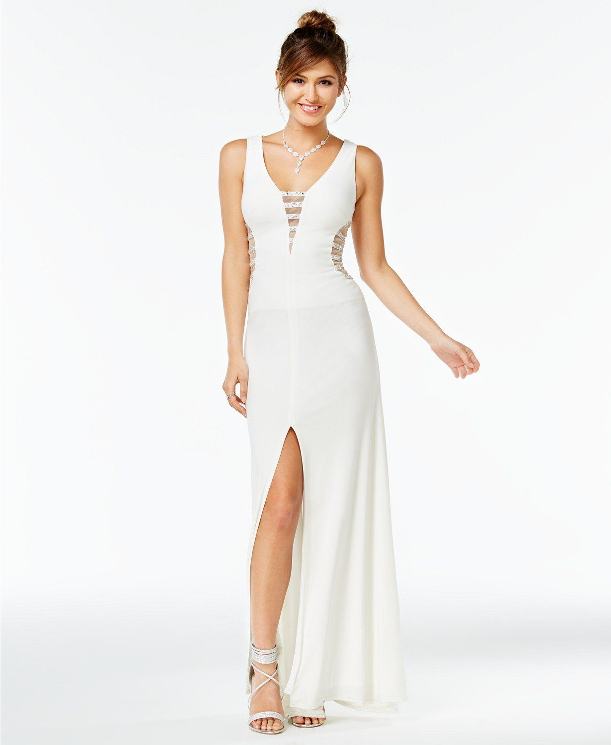 Say yes to the prom embellished illusion stripe gown created for