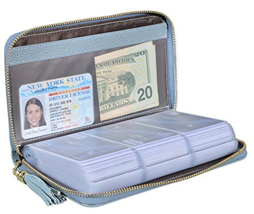 1bda6f613fc Periwinkle   Blue Lavender Credit Card Holder Wallet Womens Zipper Leather