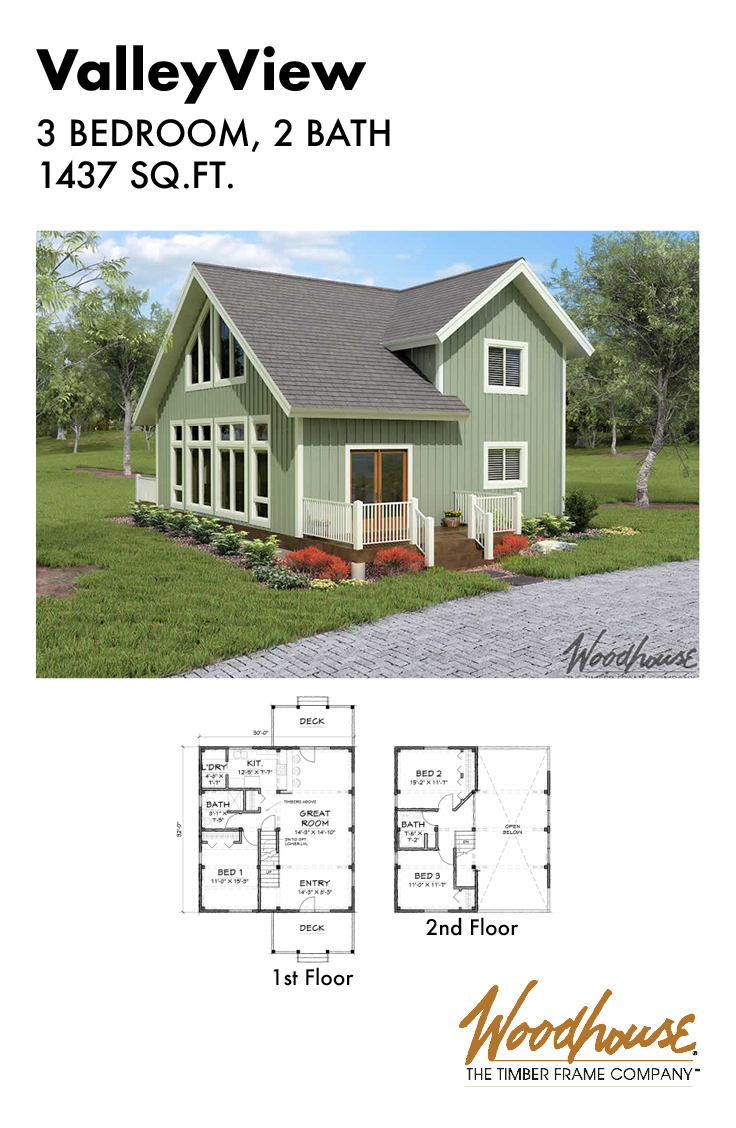 The Valleyview Is A 1 437 Square Foot Timber Frame Home Plan With 3 Bedrooms And 2 Bathrooms Download T Timber Frame Home Plans Valleyview Timber Frame Homes