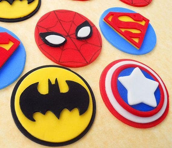 Superhero Fondant Cupcake Toppers Superherobatman Party In 2019