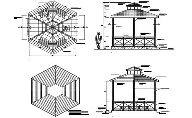 Gazebo Plan And Elevation Detail Dwg File Gazebo Plans Carport Designs Gazebo