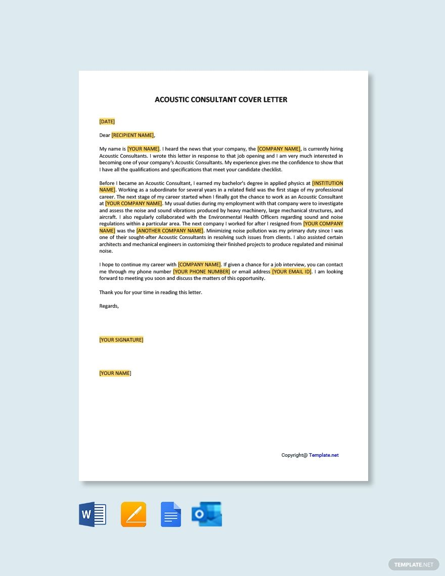 Free acoustic consultant cover letter word apple pages