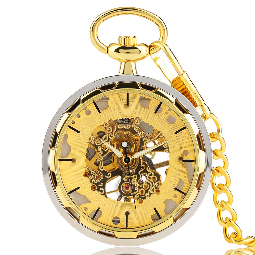 Mens pocket watches with chain images mens gold pocket watches gifts - Gold Pocket Watches For Men Transparent Design Hand Wind Mechanical Clock Pendant Stylish Luxury Golden Chain Relogio De Bolso
