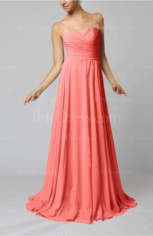 Coral plain column backless chiffon sweep train prom dresses