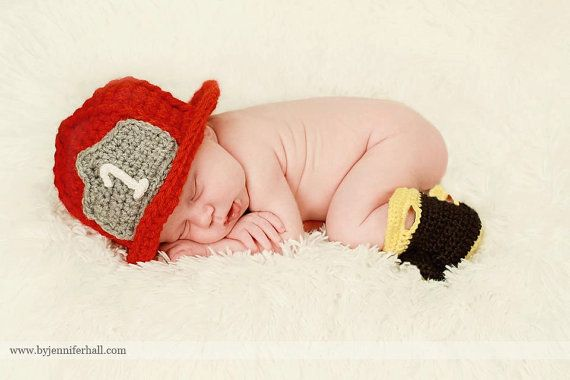 Baby boy crochet firefighter