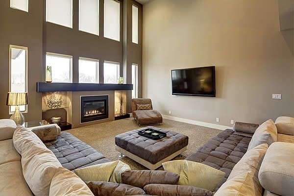 Widhalm Custom Homes Omaha Woodland Model Living Room Family Room Fire  Place Large Modern Sectional Sofa Design Ideas
