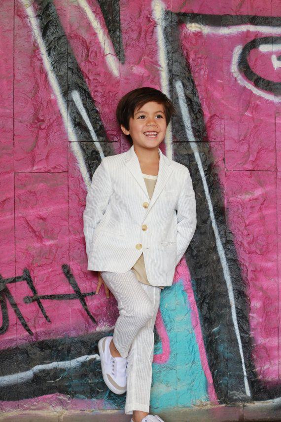 wedding outfit/Kids seersucker suit/Toddler boy linen outfit/Slim ...