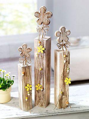 3 X Deko Säule Blume Holzblume Holzsäule Shabby Chic Landhaus Frühlingsdeko