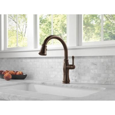 Delta Cassidy Single Handle Pull Down Sprayer Kitchen Faucet In Venetian  Bronze 9197