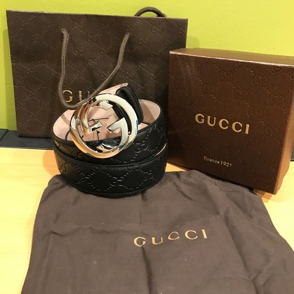 2e63339098f Authentic Men s Gucci Black Leather Belt   100% authentic   Comes with box  tags and dust bag   Made in Italy   Sizing is easy just look for the size  you ...
