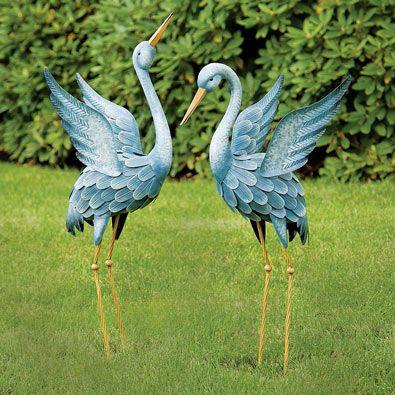 Japanese Blue Heron Metal Garden Sculpture (Beak Facing Up Or Down)