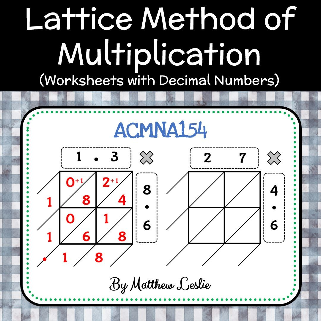 Lattice Method Of Multiplication Worksheets With Decimal