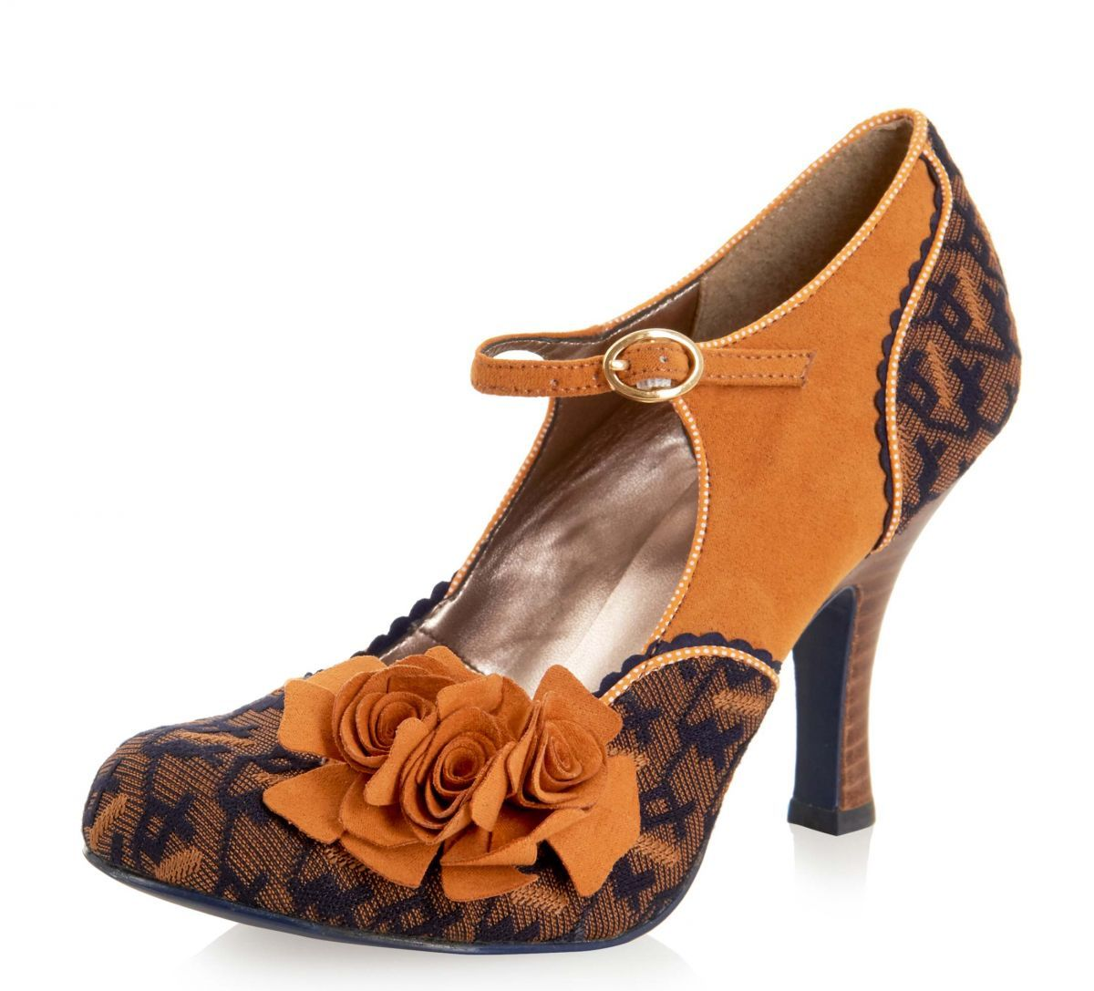 Ruby Shoo Ashley Mustard Navy Mary Jane High Heel Flower Shoes