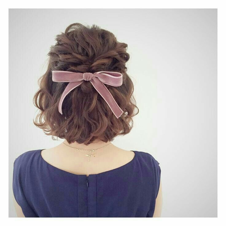 Velvet Ribbon In A Soft Wave Perfect Wedding Hair For The Boho Bride Braids For Short Hair Short Hair Styles Thick Hair Styles