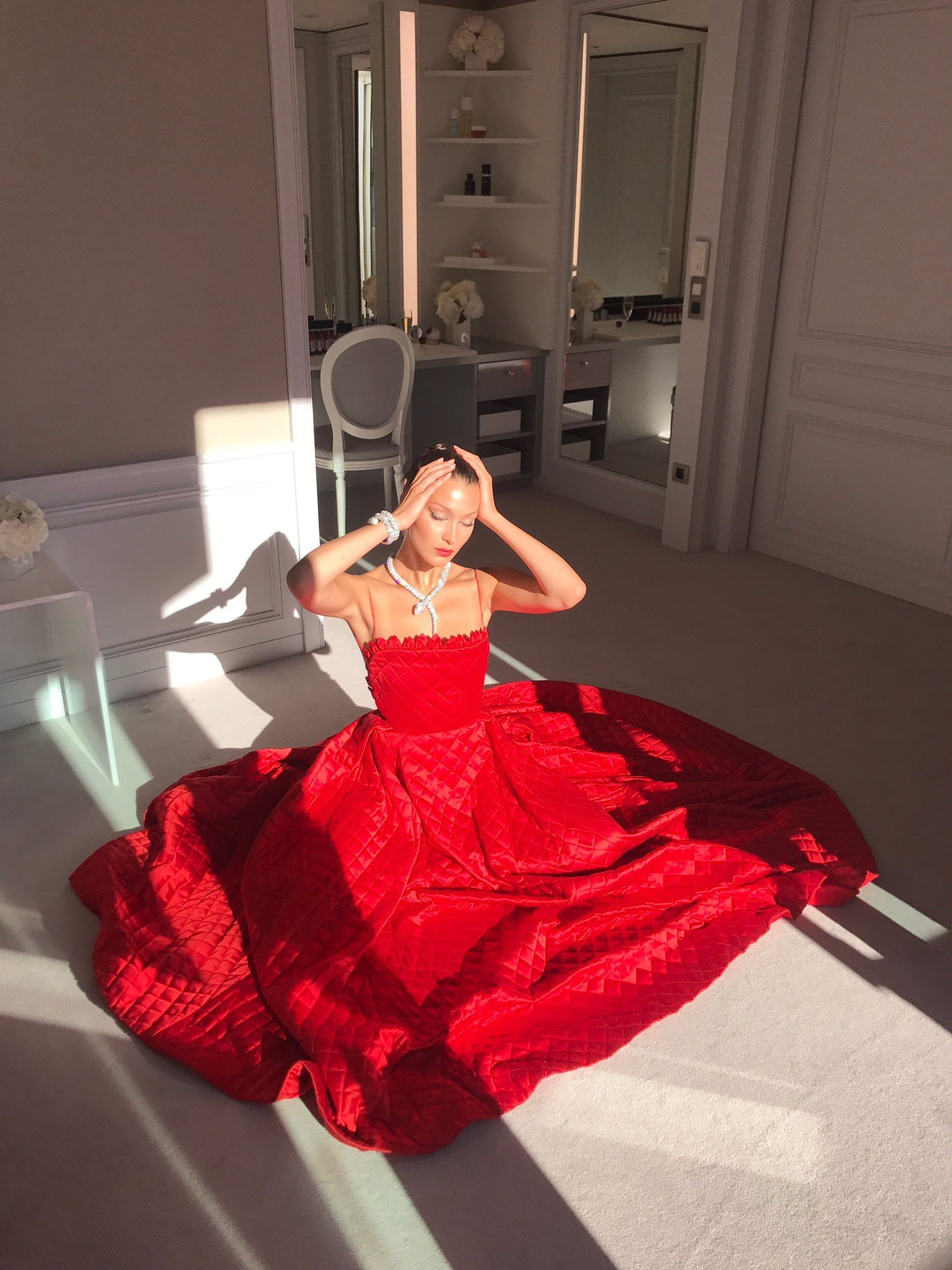 Beautiful Dior red quilted dress