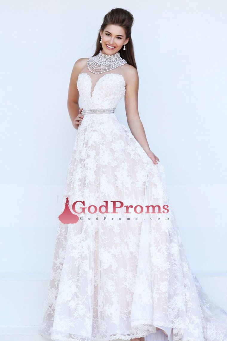b9240fecd7 2016 Prom Dresses A Line High Neck Floor Length Zipper Up Back With Beading /Sequins