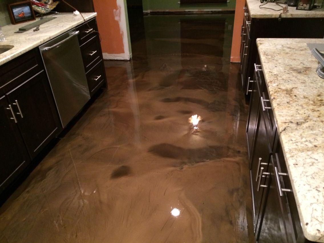 Metallic Epoxy Floor In Coffee Color Abilene Texas