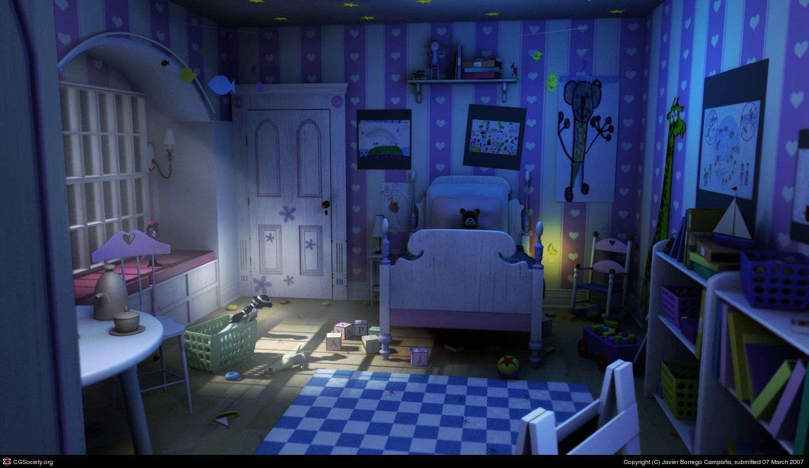 monsters inc bedroom the boo 180 s room by javier borrego campa 241 a 3d cgsociety 12654