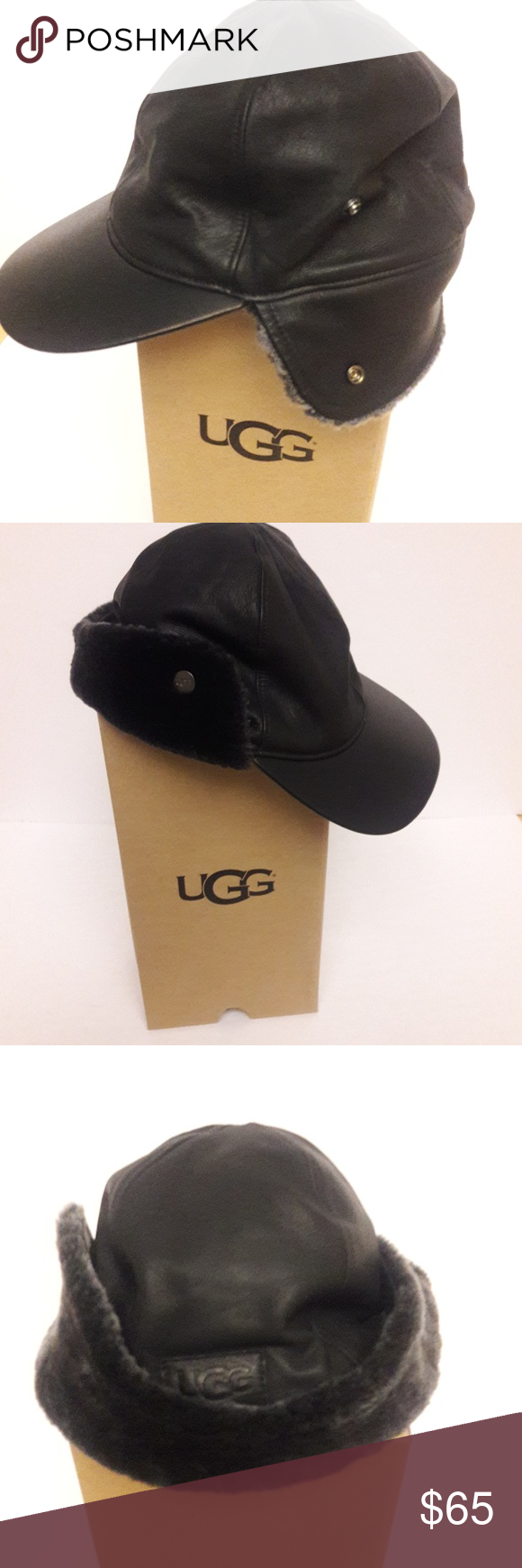 23929cc84 New Men's Leather UGG hat NWOB, Mens UGG black leather hat with ...