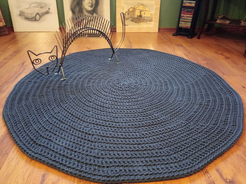 Handmade Cotton Chunky Crochet Navy Blue Gray Round Rug Crochet Nursery Rug Scandinavian Te Handmad Crochet Nursery Rug Grey Round Rug Crochet Nursery