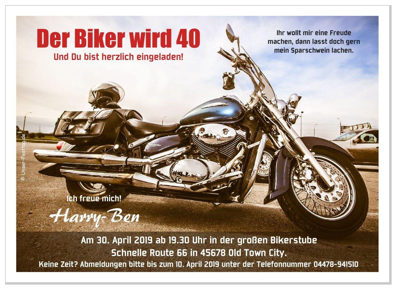 Einladungskarte Motorrad Der Biker Motorrad Geburtstag