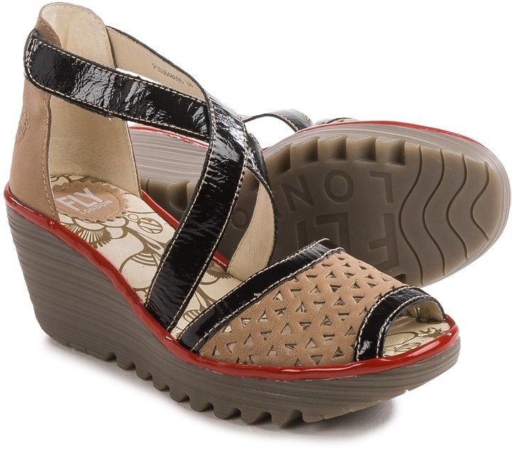 fac5e12de1887 Fly London Ynes Wedge Sandals - Leather (For Women) | Closet ...