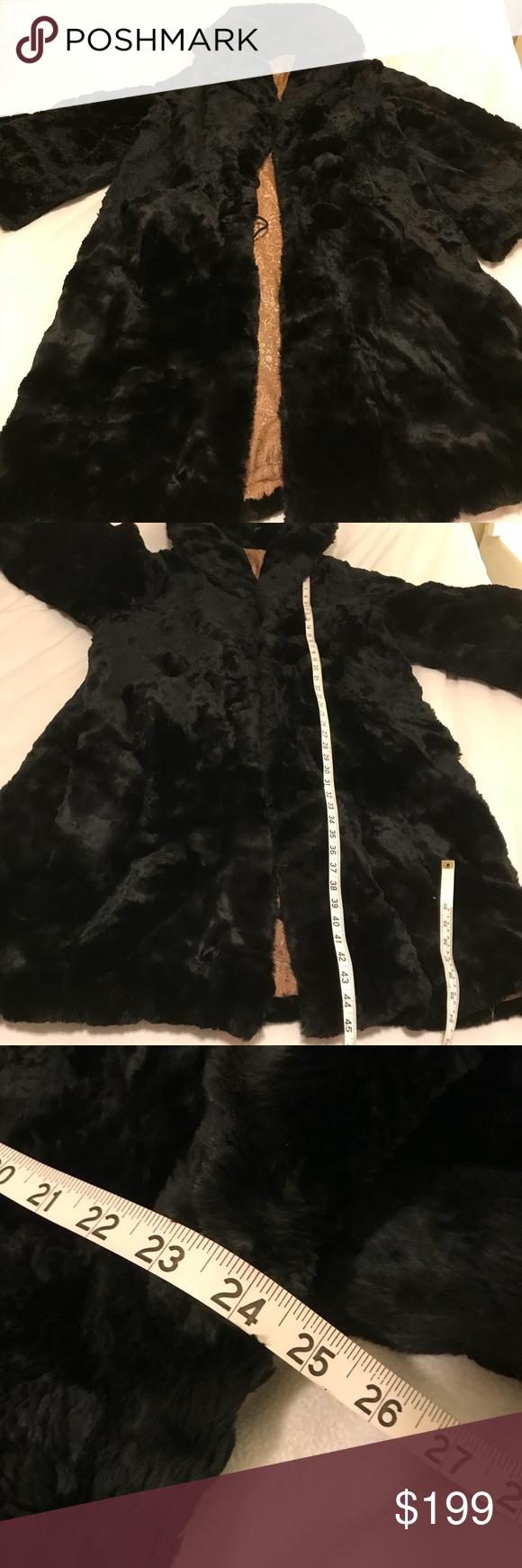 Vintage Black Fur Coat Long! Beautiful unique Needs a