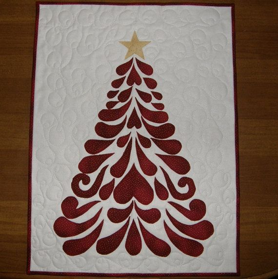 Christmas Tree Contemporary Quilted Wall Hanging, Red and White