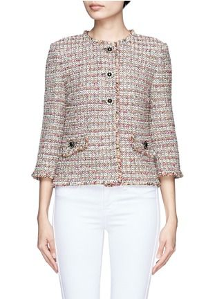 ST. JOHN Crystal embellished floral button tweed jacket