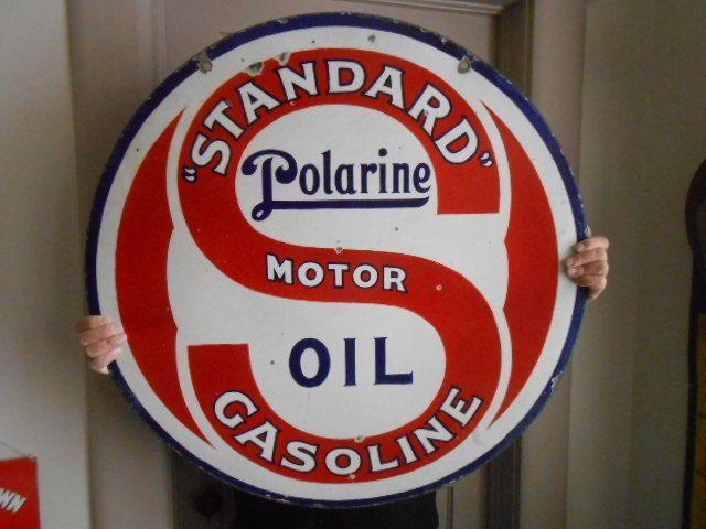 Vintage Sign Standard Polarine Motor Oil Gasoline 2 Sided