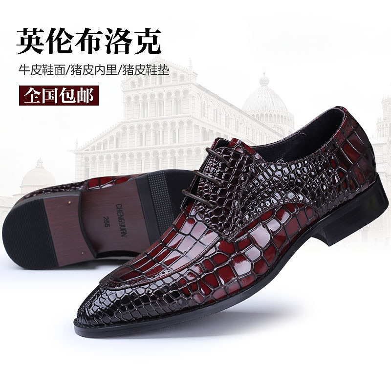 102.96$  Buy here - http://ali792.shopchina.info/1/go.php?t=32618694756 - men luxury famous Italy handmade genuine leather shoes men's brogue dress fashion crocodile style point toe oxford shoe bullock  #buymethat