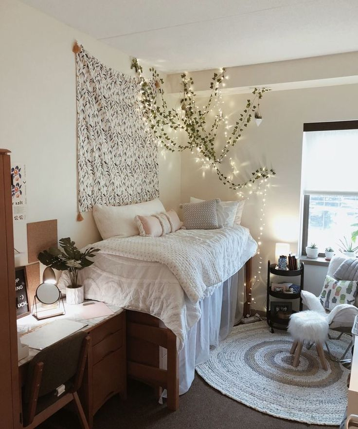 beige and gold dorm room