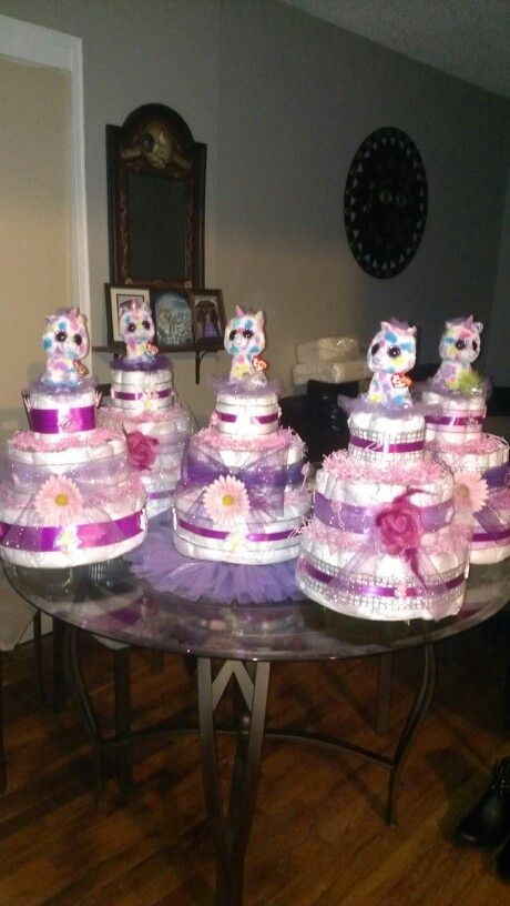 Unicorn Themed Diaper Cakes Centerpieces For Day S Baby
