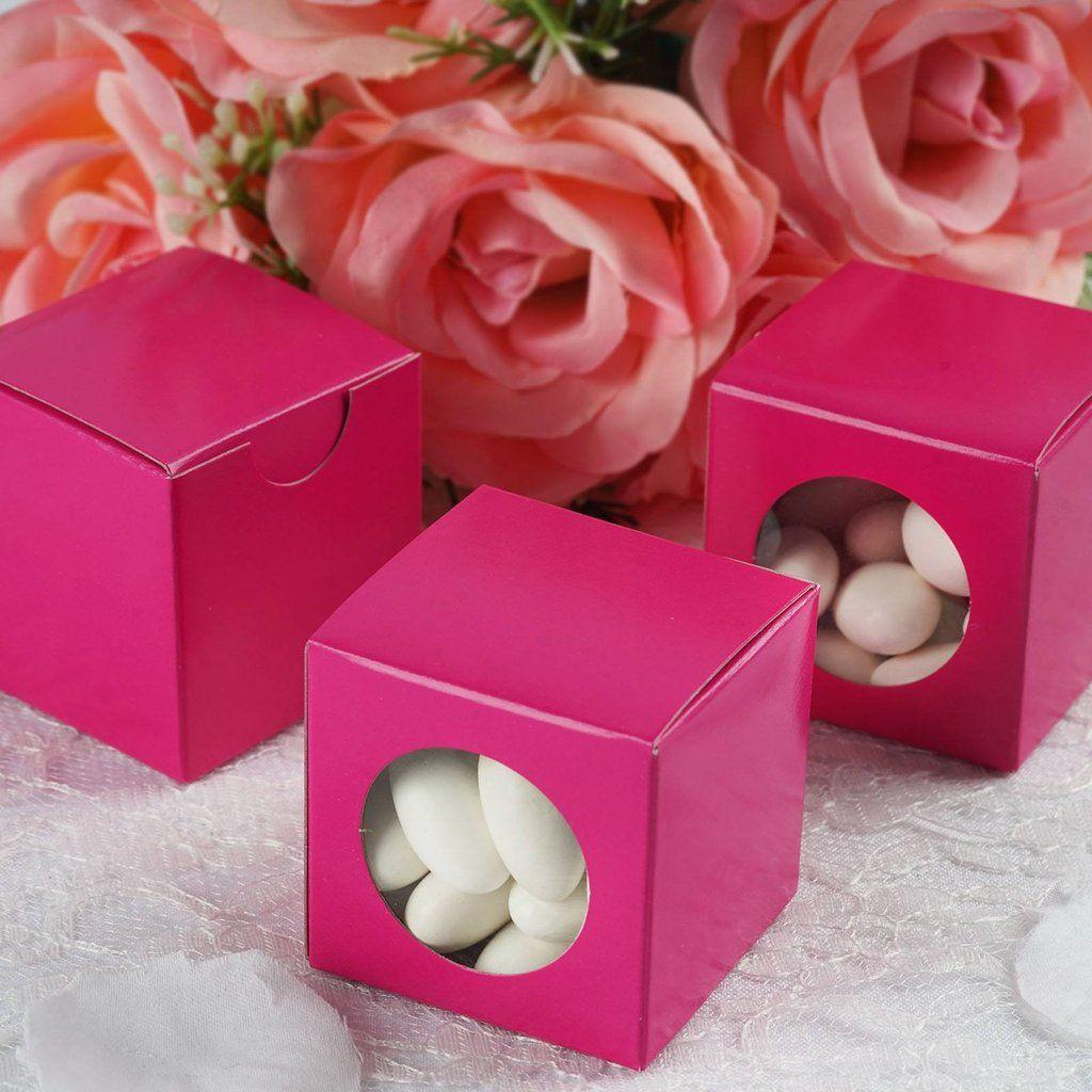 100 PCS Fushia Ballotin Favor Boxes - 2\