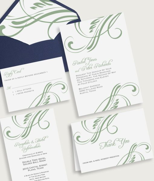 Top Bottom Flourish Design Wedding Invitation Set Elegant