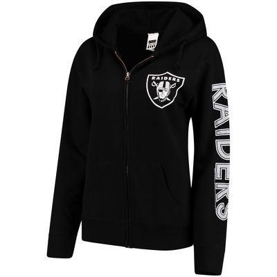 c9c55ce5 Women's Oakland Raiders Black Extra Point 2-Hit Full-Zip Hoodie ...