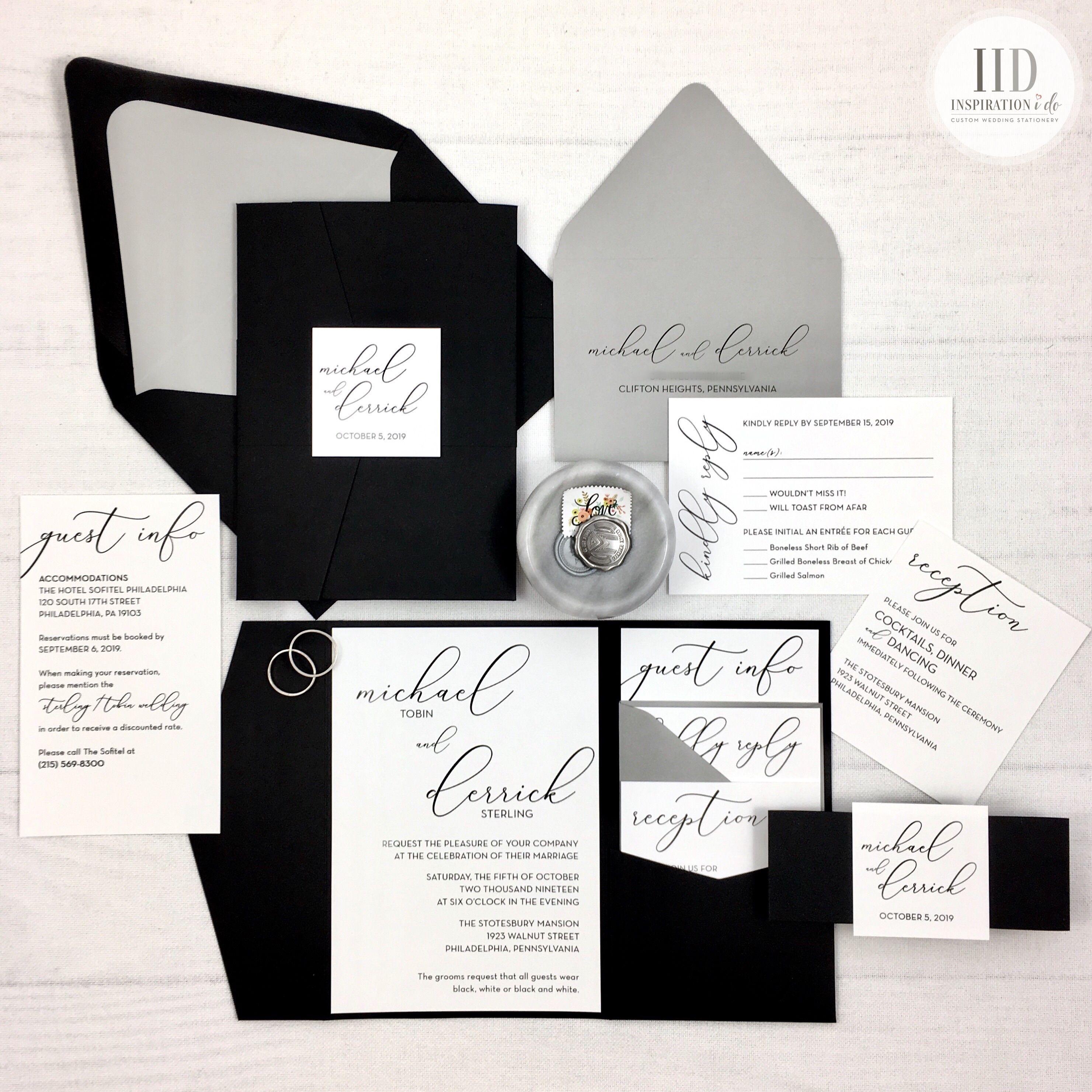 Black And White Pocket Wedding Invitations Black White And Etsy In 2020 Black Wedding Invitations Black And White Wedding Invitations Pocket Wedding Invitations