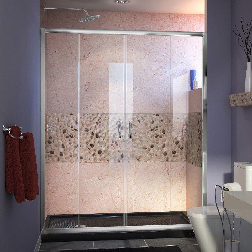 DreamLine Visions 30D x 60W x 74 3/4H Sliding Shower Door in Chrome with Left Drain Black Shower Base - Dreamline DL-6960L-88-01 #framelessslidingshowerdoors