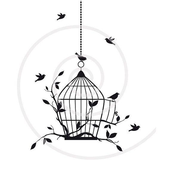 Birds With Open Birdcage Digital Clip Art Clipart Etsy Art Digital Clip Art Drawings
