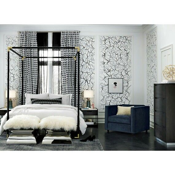 Cb2 Bedroom Metal Canopy Bed White Side Tables Canopy Bed