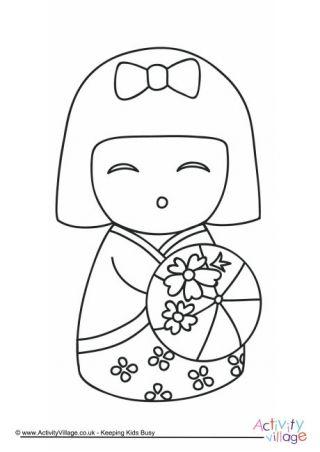 Kokeshi Doll Colouring Page 5 Kokeshi Dolls Doll Drawing Japanese Quilts