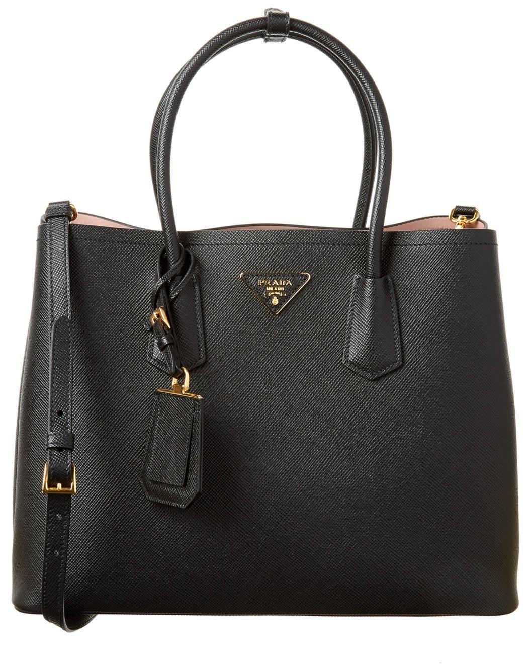 6c55ff3ba Prada Saffiano Cuir Leather Double Handle Tote | Money Bags in 2019 ...
