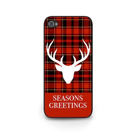 Northwoods Christmas Phone Case - iPhone 6 Deer Antlers - Red Plaid Flannel iPhone 5s Christmas Phone Case - iPhone 5c Phone Case Deer Head
