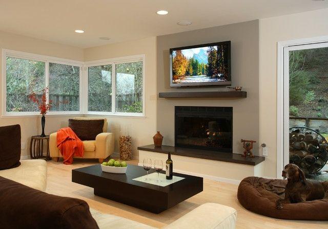 Wohnzimmer mit kamin und fernseher  Fernseher über Kamin aufhängen Ideen Montage | kamin | Pinterest ...