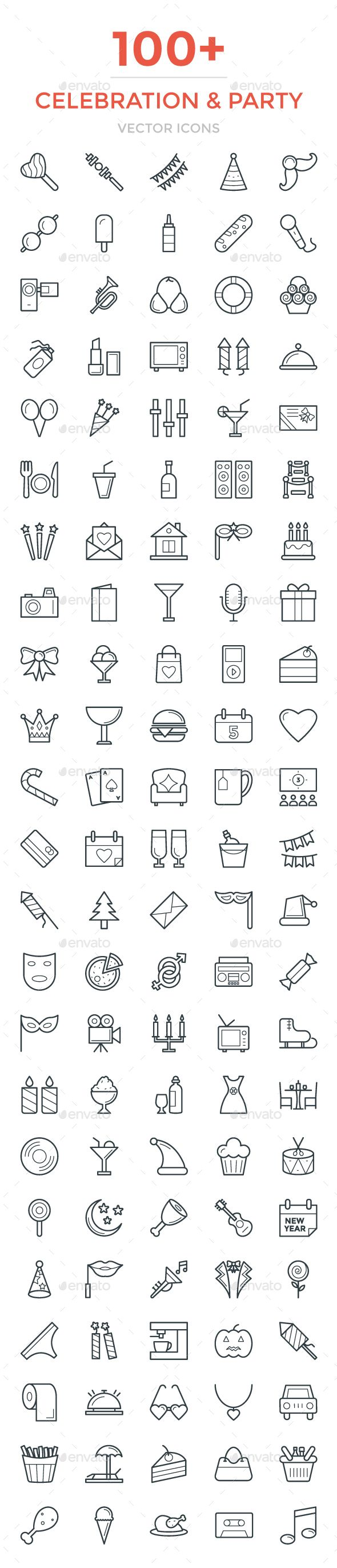 100+ Celebration and Party Icons. Download here: https://graphicriver.net/item/100-celebration-and-party-icons/17044578?ref=ksioks