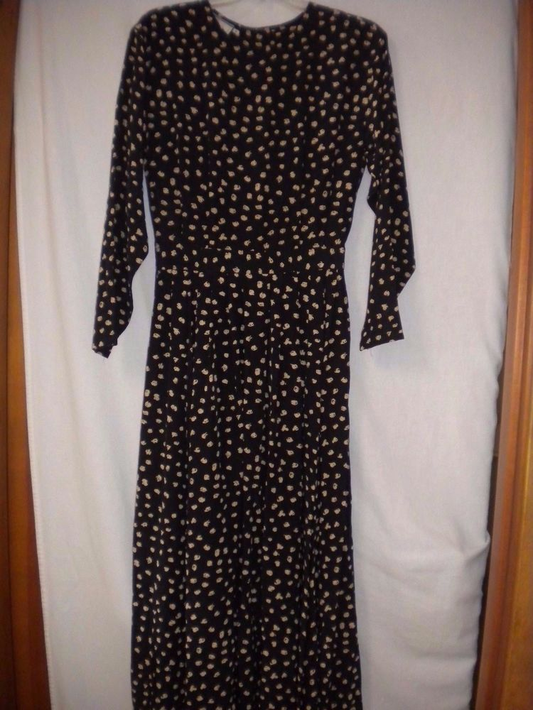 Ann Tjian by Kenar 2 Size 8 Black Tan Silk Long Sleeve Button Back Women Dress #Kenar2 #ALine #Versatile