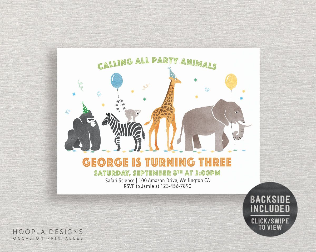 Calling All Party Animals Birthday Invitation & Party Pack   Etsy ...