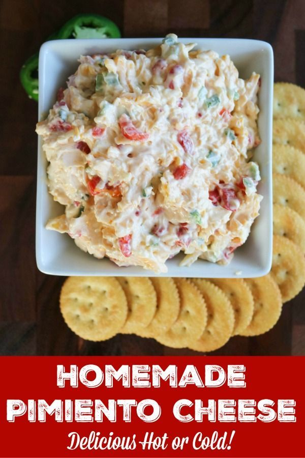 Homemade Pimiento Cheese Homemade Pimiento Cheese is a Southern staple that's easy to make and ready in minutes. Diced pimiento peppers, lots of cheese and jalapenos combine for an indulgent dip that's delicious cold or hot