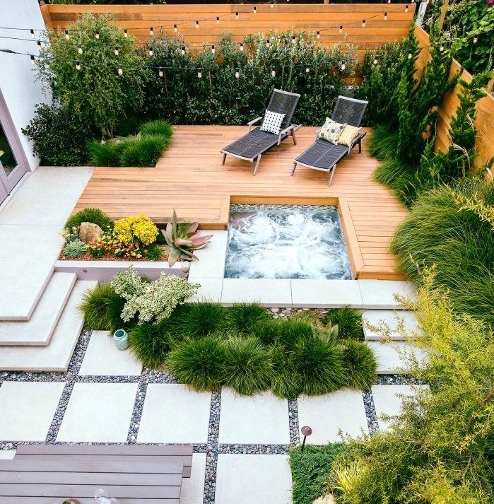 aménager son jardin, gravier, dalles de béton et terrassé en teck ...