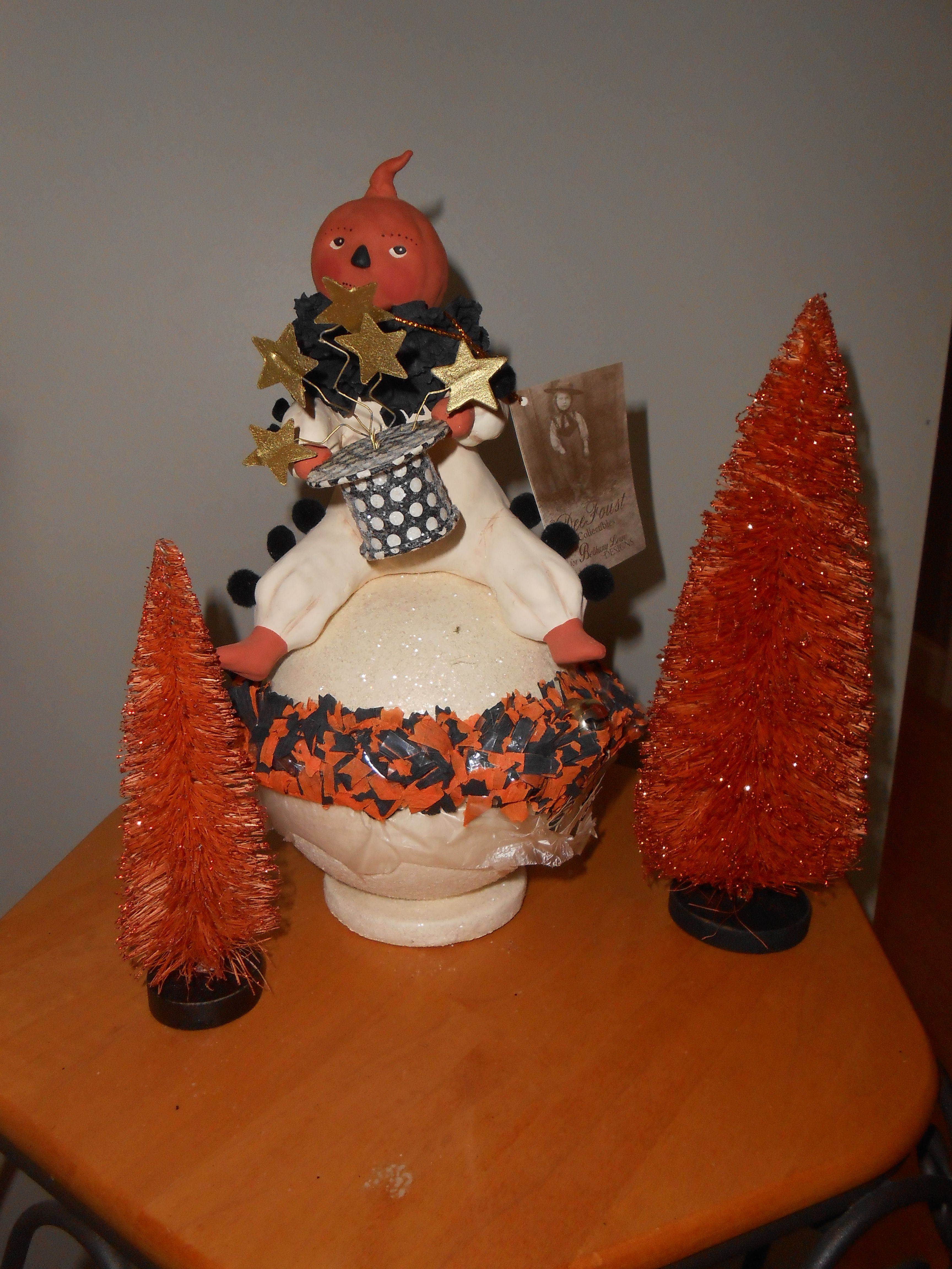 "GOOD FORTUNE JACK OF LANTERN candy container, 10"" tall"